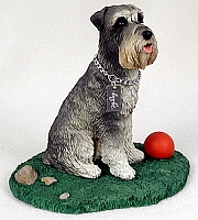Schnauzer Gray w/Uncropped Ears My Dog Figurine