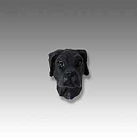 Great Dane Black Uncropped Tiny One head