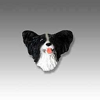 Papillon Black & White Tiny One head