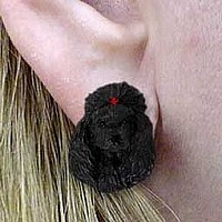 Poodle Black Earrings Post