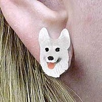 German Shepherd White Earrings Post