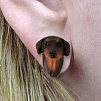 Doberman Pinscher Red w/Cropped Ears Earrings Post