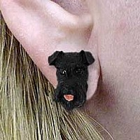 Schnauzer Black Earrings Post