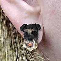 Schnauzer Gray Uncropped Earrings Post
