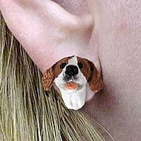 Pointer Brown & White Earrings Post
