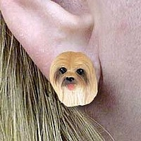 Lhasa Apso Brown Earrings Post