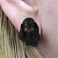 Cocker Spaniel Black & Tan Earrings Post