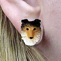 Sheltie Sable Earrings Post