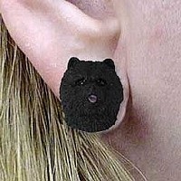 Chow Black Earrings Post