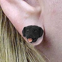 Labrador Retriever Black Earrings Post