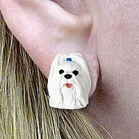 Shih Tzu White Earrings Post