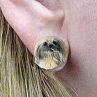 Pekingese Earrings Post
