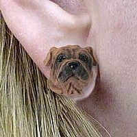 Shar Pei Brown Earrings Post