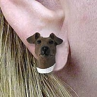 Fox Terrier Brown & White Earrings Post