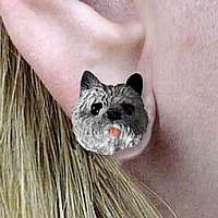 Cairn Terrier Gray Earrings Post