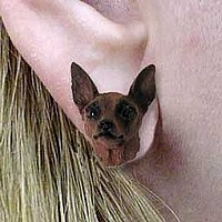 Miniature Pinscher Red & Brown Earrings Post
