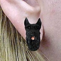 Schnauzer Giant Black Earrings Post