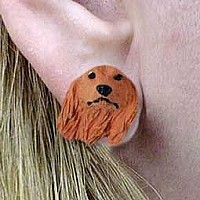 Dachshund Longhaired Red Earrings Post