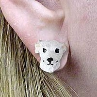 Whippet White Earrings Post