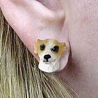 Whippet Tan & White Earrings Post