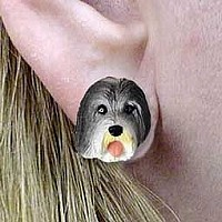 Bearded Collie Earrings Post