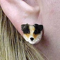 Australian Shepherd Brown w/Docked Tail Earrings Post