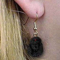 Poodle Black Earrings Hanging