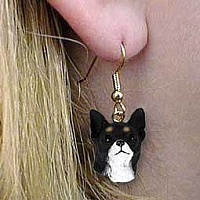 Chihuahua Black & White Earrings Hanging