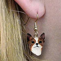 Chihuahua Brindle & White Earrings Hanging