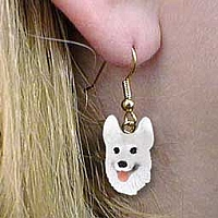 German Shepherd White Earrings Hanging