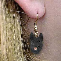 German Shepherd Black Earrings Hanging