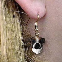Boxer Brindle Uncropped Earrings Hanging