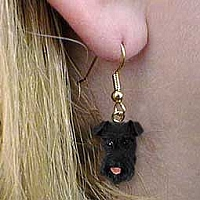 Schnauzer Black Earrings Hanging