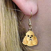 Poodle Apricot w/Sport Cut Earrings Hanging