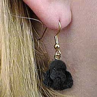 Poodle Black w/Sport Cut Earrings Hanging
