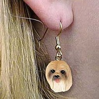 Lhasa Apso Brown Earrings Hanging