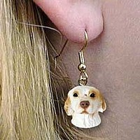 Clumber Spaniel Earrings Hanging