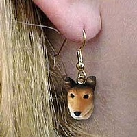 Collie Smoth Hair Earrings Hanging