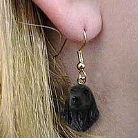 Cocker Spaniel English Black Earrings Hanging
