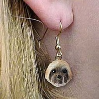 Lhasa Apso Brown w/Sport Cut Earrings Hanging