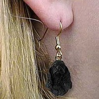 Cocker Spaniel Black Earrings Hanging