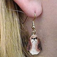 Cocker Spaniel Brown & White Earrings Hanging
