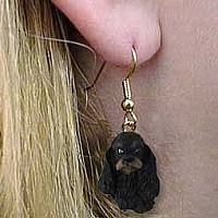 Cocker Spaniel Black & Tan Earrings Hanging