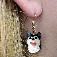 Husky Black & White w/Brown Eyes Earrings Hanging