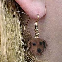 Dachshund Red Earrings Hanging