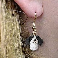 Brittany Liver & White Spaniel Earrings Hanging