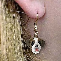 Saint Bernard w/Rough Coat Earrings Hanging