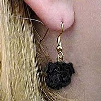 Shar Pei Black Earrings Hanging