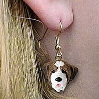 Saint Bernard w/Smooth Coat Earrings Hanging