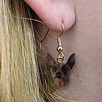 Miniature Pinscher Red & Brown Earrings Hanging